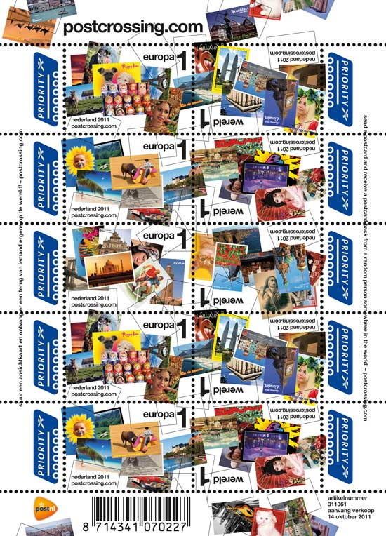 postcrossing stamps issued by the Dutch post