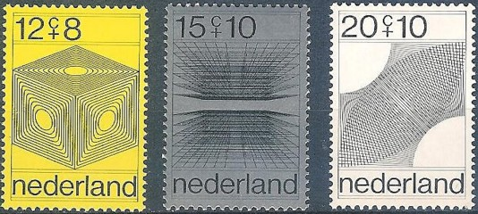 The first computer designed stampset was issued by The Netherlands