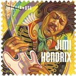 Jimi Hendrix on postage stamp USA