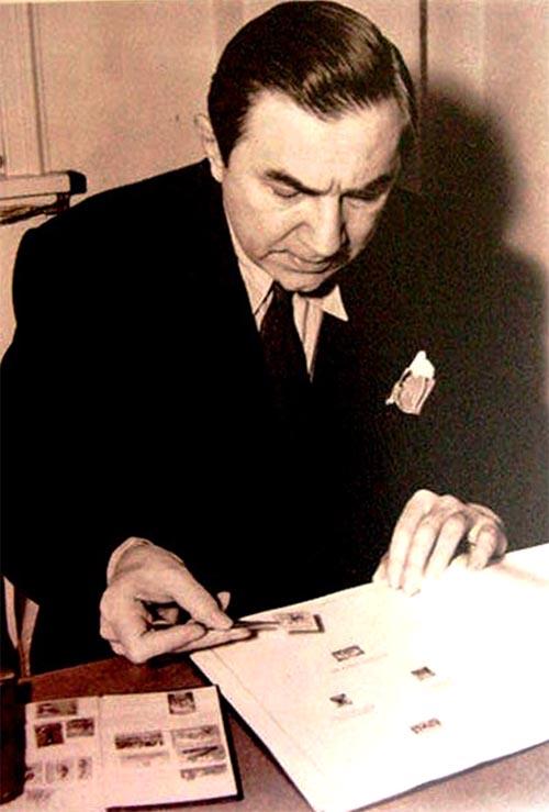 Bela Lugosi collecting stamps