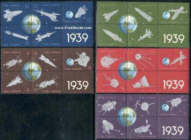 Cuba 1964, Rocket Post 25 years commemorative stamps