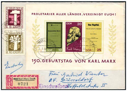 Enveloppe with Karl Marx stams