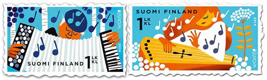 Sanna Manders kantele winning stamp design