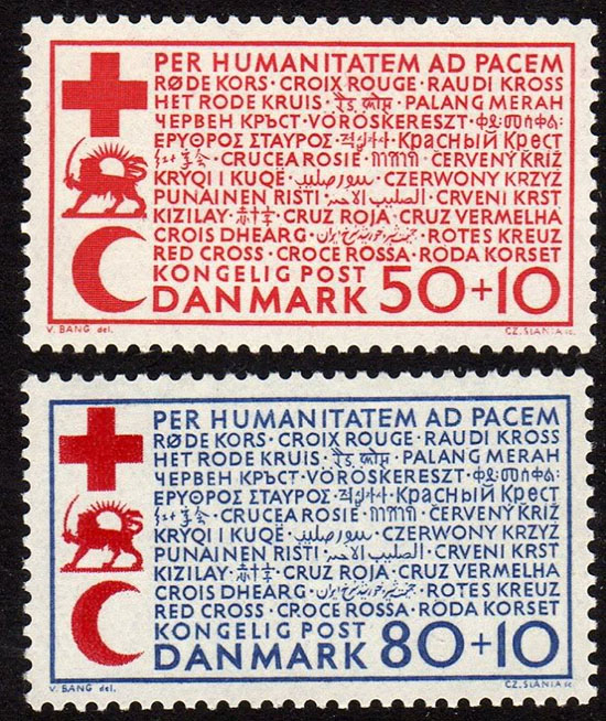 Red Cross stamps Denmark closeup