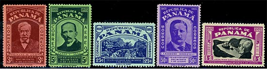 Stamps issued by Panama in 1955 to commemorate the 150th anniversary of the birth of Frenchman Ferdinand de Lesseps