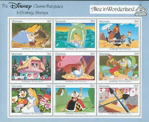 Stampsheet Grenada Alice in wonderland.
