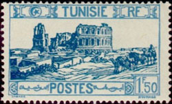 Amphitheater El DJem stamp 1927