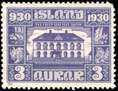 parliament building in Reykjavik stamp