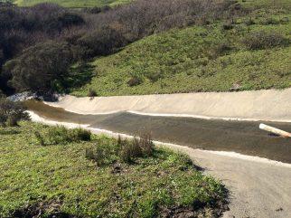 Sediment pond spillway