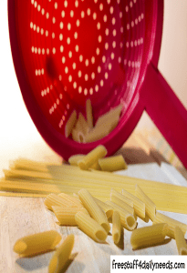 pasta noodles and colander