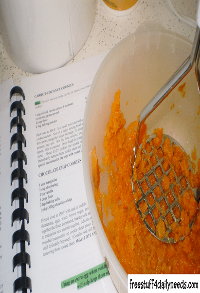 mashed carrots and cookbook