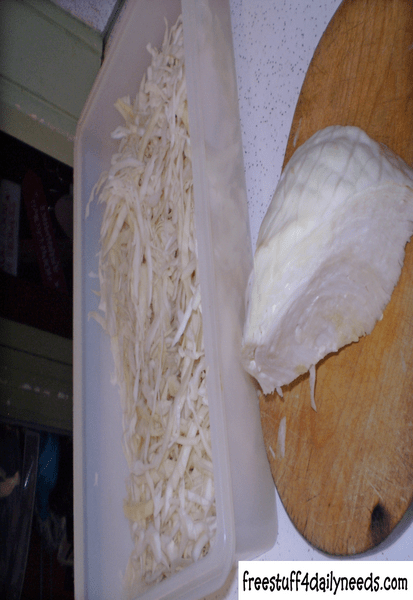 shredded cabbage for coleslaw