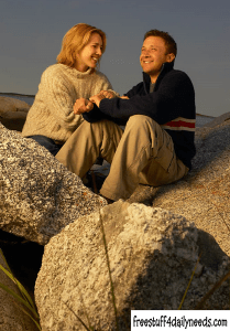 couple sitting on top of big rocks