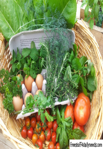 vegetables and eggs in a basket