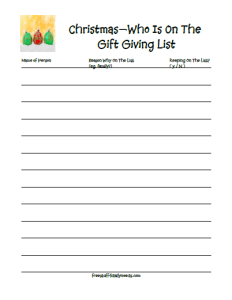 christmas gift giving list photo