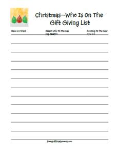 christmas gift giving list photo