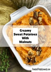 creamy sweet potatoes with walnuts