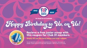 Free Junior Scoop of Ice Cream from Baskin Robbins!