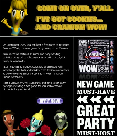 House Party Free Cranium WOW Game for Hosting a Cranium WOW Party - Exp Sep 29, 07, US