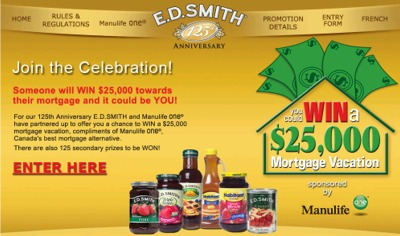 E.D. Smith Win $25,000 Towards Your Mortgage - Exp Dec 1, 07, Canada
