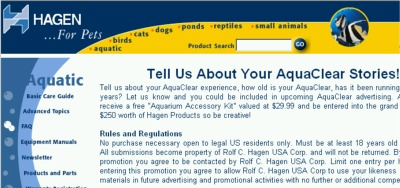 Hagen for Pets Tell Your AquaClear Experience for a Free Aquarium Accessory Kit - US