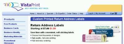 Sponsored: Vistaprint Save 75% Off Address Labels (for $1.99) - Shipping, US