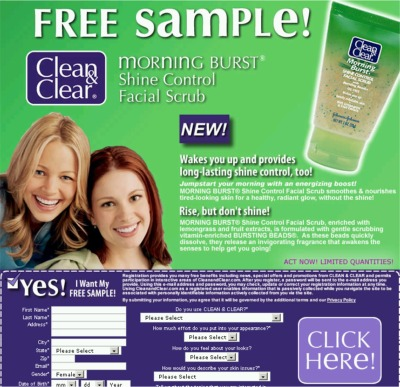 Teenfreeway.com Clean & Clear Morning Burst Shine Control Facial Scrub Free Sample - US
