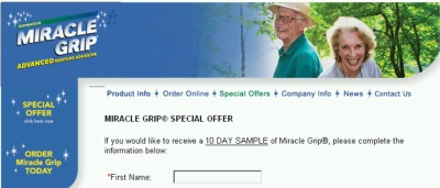 Miracle Grip Advanced Denture Adhesive Free 10-Day Sample - US