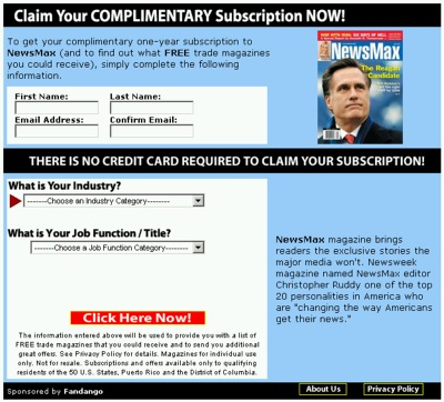 FreeBizMag.com Free 1-Year Subscription to NewsMax Magazine - US