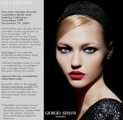 """Holt Renfrew Free """"7ml Crema Nera Deluxe Trial Sample, The New Skincare Cream from Giorgio Armani"""" - Nov 29 - Dec 1, 07, Canada"""