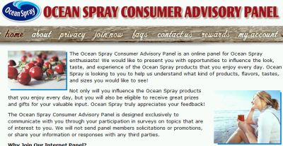Ocean Spray Consumer Advisory Panel Survey Free Rewards for Surveys