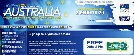 2008 Australian Olympic Team Free Official Pin - Worldwide
