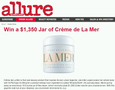 Allure Magazine Win a $1,350 Jar of Crème de La Mer - Exp Jan 31, 08, US