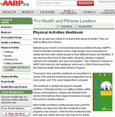 AARP Free Physical Activities Workbook and Other Health Publications - US