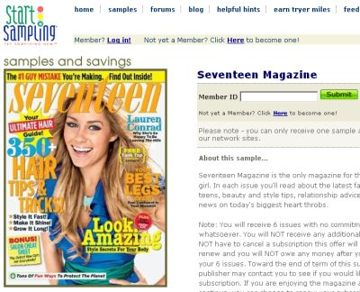 StartSampling.com 6 Free Issues of Seventeen Magazine - US