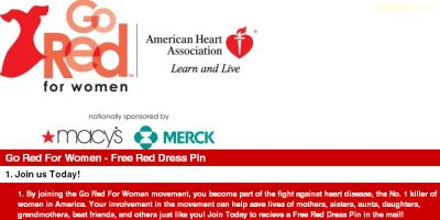 American Heart Association Go Red for Women Free Red Dress Pin - US