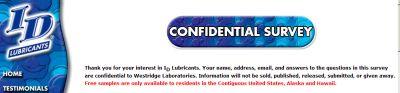 ID Personal Lubricant by Westridge Laboratories Free Sample - US