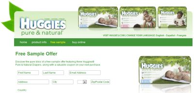 Huggies Pure & Natural Sample - Canada and US