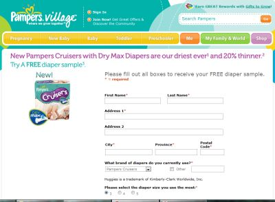 Pampers Cruisers with Dry Max Diaper Free Sample - Canada