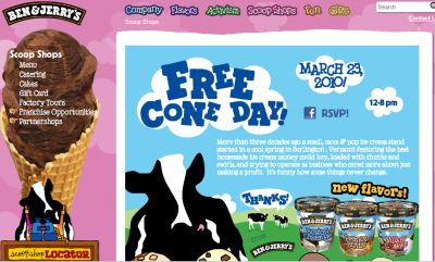Ben & Jerry's Ice-Cream Free Cone Day on March 23, 2010 from 12 p.m. to 8 p.m.