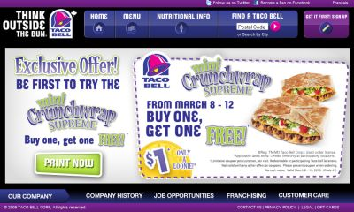 picture regarding Taco Bell Printable Menu identified as Taco Bell Canada Totally free Printable Coupon for a Order Just one Purchase A single