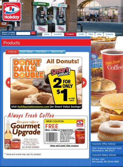 Holiday Gas Station Printable Coupon for a Free Coffee or Cappuccino - Exp. August 29, 2010, US