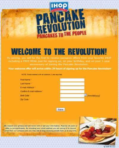 IHOP Restaurant Pancake Revolution Free Meal on Your Birthday and Another on the Anniversary of Your Sign Up
