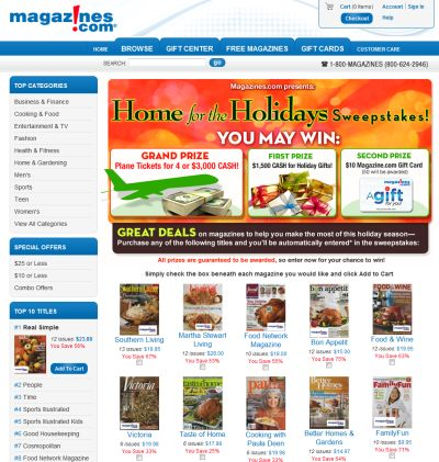Magazines.com Win a Trip Home for the Holidays - Exp. November 30, 2010
