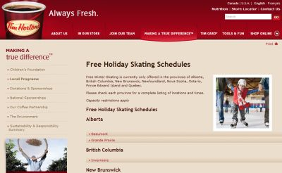 Tim Hortons Free Holiday Skating Schedules - Canada