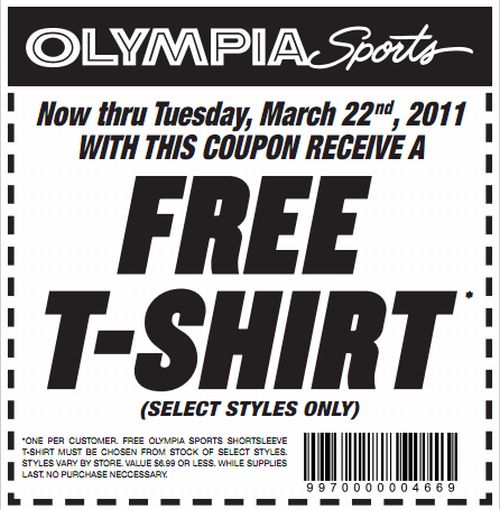 Olympia Sports Printable Coupon for a Free T-Shirt - Exp. March 22, 2011, Select US States