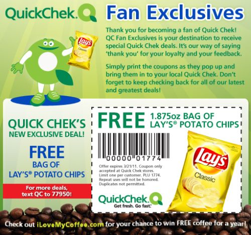 Quick Chek Printable Coupon for a Free Bag of Lay's Potato Chips - Exp. March 21, 2011