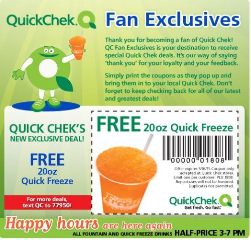 QuickChek Printable Coupon for a Free 20oz Quick Freeze - Exp. May 16, 2011, US
