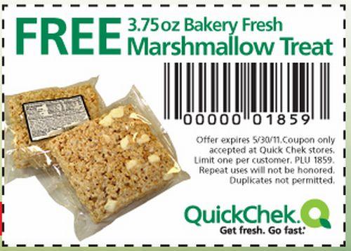 QuickChek Free 3.75 oz. Bakery Fresh Marshmallow Treat Printable Coupon - May 30, 2011