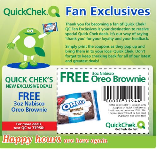 QuickChek Free Printable Coupon for a Free 3 oz. Nabisco Oreo Brownie - Exp. August 8, 2011
